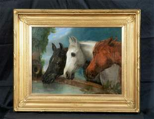 Portrait of Three Horses Heads Oil Painting
