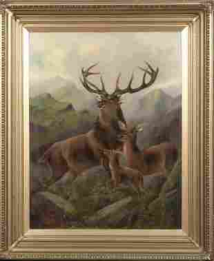 Stag Hind & Fawn Highlands Landscape Oil Painting