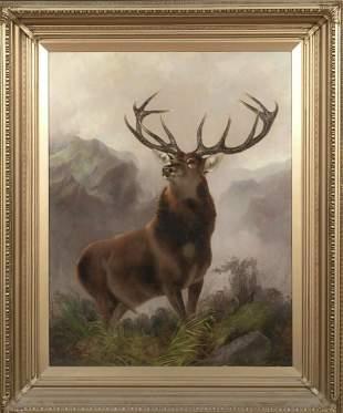Portrait of A Stag Highlands Landscape Oil Painting