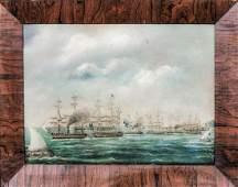 Royal Navy Fleet Ships Off Hong Kong Oil Painting