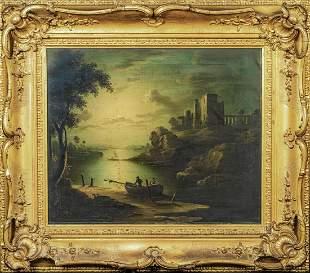 Moonlit River Landscape & Ruins Oil Painting