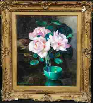 Camellia's In Glass Vase Oil Painting