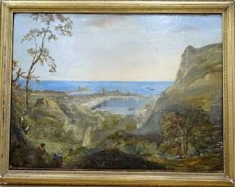 Landscape Cherbourg Harbour Oil Painting