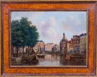 Amsterdam Harbour Street Scene Oil Painting