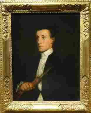 Portrait Gentleman Zampogna Player Musician Oil
