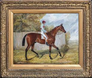 """Melton"" & Jockey Oil Painting"