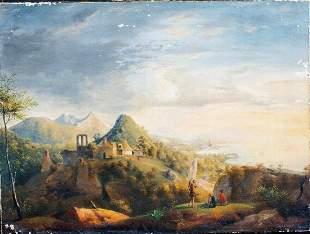 Hillside Coastal Landscape Oil Painting