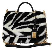 Black White Zebra Fur Handbag Sling Purse SICILY Bag