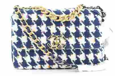 Chanel 21P Small Navy Multicolor Tweed Houndstooth