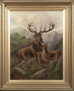 Stag Hind & Fawn Highlands Oil Painting