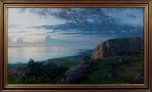 Coastal Sunset Landscape Oil Painting