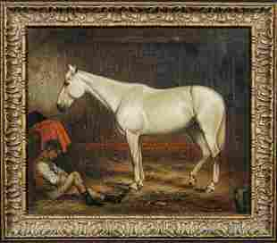 Portrait of A White Horse In Stable Oil Painting