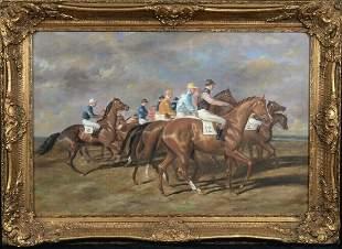 """Horse & Jockeys """"Start OF The Race"""" Oil Painting"""