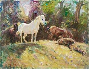 Groom & Horses Resting Oil Painting