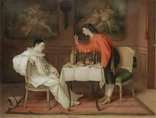 Pierrot Drunk Dinner Oil Painting