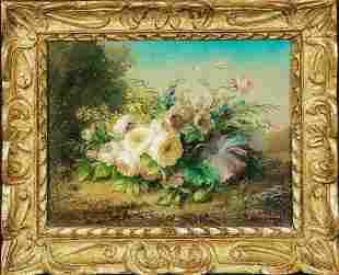 Still Life Of Flowers & Butterflies Oil Painting