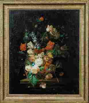 Still Life Flowers In A Basket Oil Painting