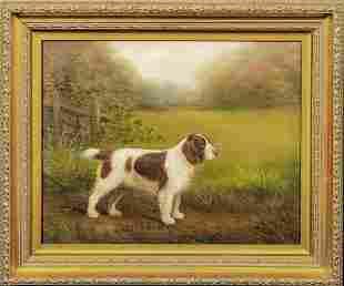 """Portrait Of """"Welsh Randy"""" Welsh Springer Spaniel Oil"""