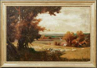 The Golden Valley Herefordshire Sheep Oil Painting