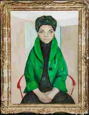 Portrait Of A Lady In A Green Jacket Oil Painting
