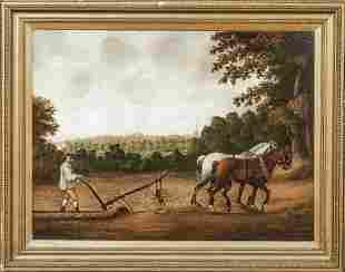 Farm Plough Horses & Farmer Oil Painting