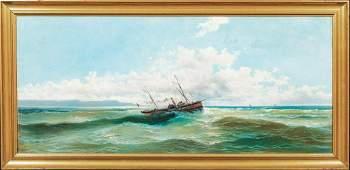 Coastal Ship Seascape Oil Painting