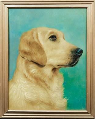 Golden Retriever Dog Portrait Oil Painting