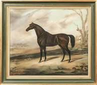 Dark Bay Hunter Horse In A Winter Landscape Oil