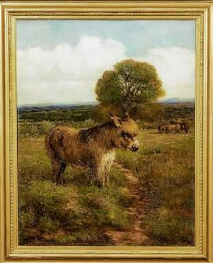Portrait Donkey In A Field Landscape Oil Painting