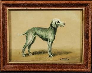 Portrait Of A Bedlington Terrier Dog Oil Painting