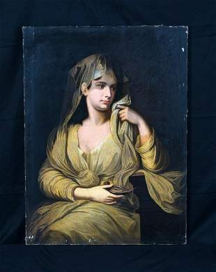 Girl Wearing A Veil & Lamp Oil Painting