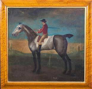 Horse & Jockey Portrait Oil Painting