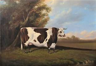 Large 19th Century English Portrait Prize Longhorn Cow