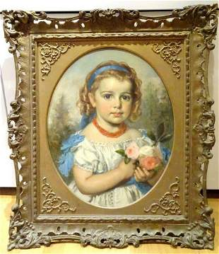 Portrait of A Girl Wearing Ribbons Oil Painting