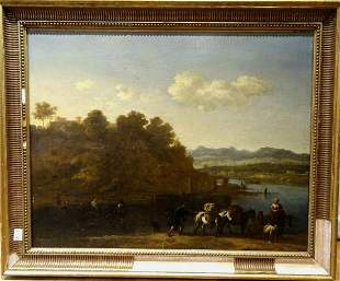 Landscape Cattle and River Oil Painting