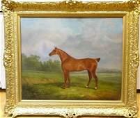 Chestnut Hunter Horse Portrait Oil Painting