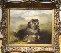 Terrier Dog Portrait & Dead Rabbit Oil Painting