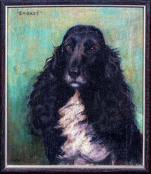 "Cocker Spaniel Dog Portrait ""Smokey"" Oil Painting"