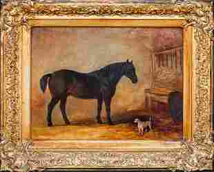 Bay Hunter Horse & Terrier Dog Oil Painting
