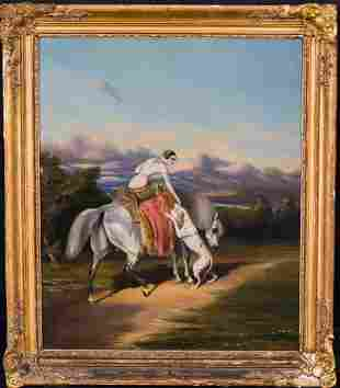 Lady Portrait Riding Her Horse Oil Painting