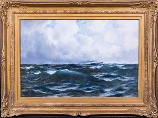 Coastal Seascape & Ship Oil Painting