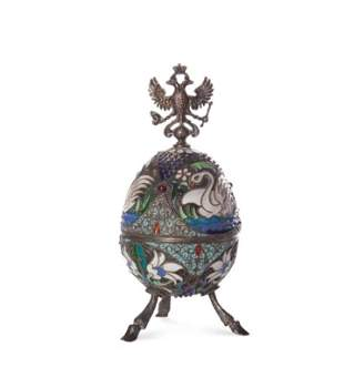 ANTIQUE RUSSIAN SILVER AND CLOISONNE ENAMEL EGG
