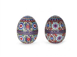 TWO SILVER GILT AND CLOISONNE ENAMEL RUSSIAN EGGS