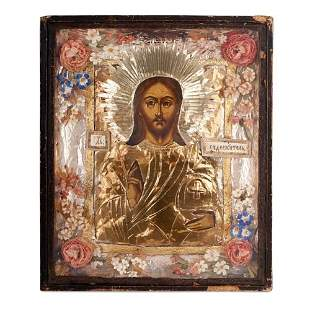 ANTIQUE RUSSIAN ORTHODOX CHURCH ICON OF CHRIST