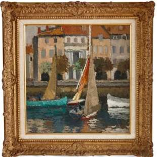 IMPRESSIONIST OIL PAINTING OF A HARBOUR SCENE BY