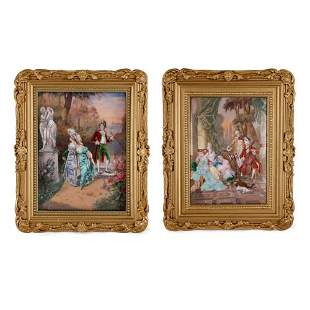 PAIR OF LARGE ROCOCO STYLE LIMOGES ENAMEL PLAQUES