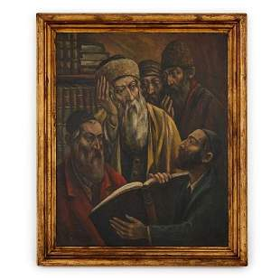 STUDYING THE TORAH', POLISH OIL PAINTING BY BRYKS