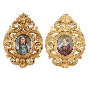PAIR OF ANTIQUE LIMOGES ENAMEL PLAQUES IN GILTWOOD