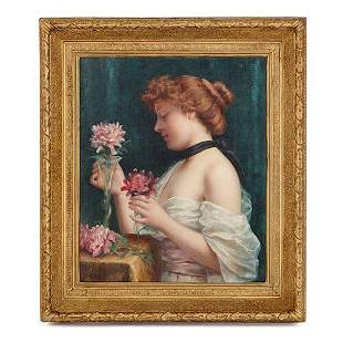 FRENCH OIL PAINTING OF A GIRL WITH FLOWERS BY PERREY