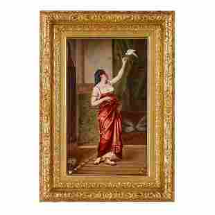 LARGE ORIENTALIST ANTIQUE KPM PORCELAIN PLAQUE